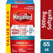 MegaRed Omega-3 Blend Supplement 500mg, Total Body + Refresh Softgels, Easily Absorbed Krill Oil