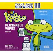 Kandoo Wipes, Flushable, Refills, Value Pack