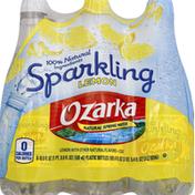 Ozarka Water, Natural Spring, Sparkling, Lemon Essence