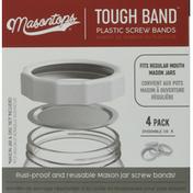 Masontops Plastic Screw Bands, Regular Mouth, 4 Pack