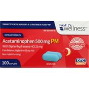 Family Wellness Acetaminophen PM, Extra Strength, 500 mg, Caplets