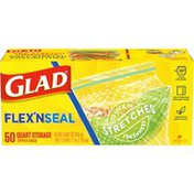 Glad Flex n Seal Food Storage Zipper Bags - Quart