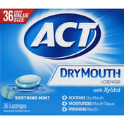 Act Dry Mouth Lozenges, with Xylitol, Soothing Mint, Value Size