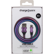Chargeworx USB Cable, Micro USB Connector, 6 FT