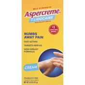 Aspercreme Pain Relief Cream with 4% Lidocaine, Max Strength