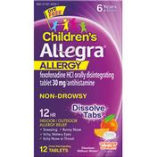 Allegra Allergy Relief, Children's, Indoor/Outdoor, Orange Cream Flavor, Non-Drowsy, 12 Hr, Tablets