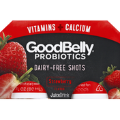 GoodBelly Juice Drink, Dairy-Free, Shot, Strawberry Flavor