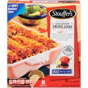Stouffer's Big Party Size Shredded white chicken & vegetables wrapped in hand-rolled corn tortillas over rice & topped with cheddar cheese & spicy ranchero sauce Chicken Enchiladas