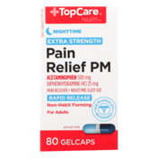 TopCare Extra Strength Pain Relief Pm Acetaminophen 500 Mg Pain Reliever, Diphenhydramine Hcl 25 Mg Nighttime Sleep Aid Rapid Release Gelcaps