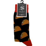 Sock Smith Socks, Black, Tacos, Graphic Cotton Crew, Men