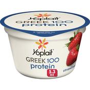 Yoplait Greek 100  Protein Yogurt, Strawberry, 14g Protein, Fat Free