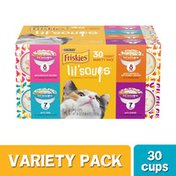 Purina Friskies Grain Free Wet Cat Food Complement Variety Pack, Lil' Soups Salmon, Tuna, Chicken & Shrimp