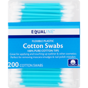 Equaline Cotton Swabs, Flexible Plastic