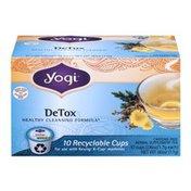 Yogi Tea DeTox Herbal Supplement Tea Recyclable Cups - 10 CT