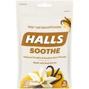 Halls Soothe Honey Vanilla Cough Suppressant/Oral Anesthetic Menthol Drops