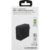 Scosche Fast Charger for Home, USB-C/USB-A, Power Delivery 3.0