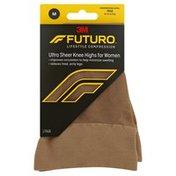 FUTURO Knee Highs, Ultra Sheer, Mild Compression, Medium, Nude