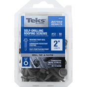 Teks Screws, Roofing, Self-Drilling, 2 Inches Length