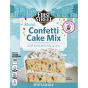 First Street Cake Mix, Confetti, Moist