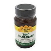Country Life Zinc Picolinate 25 Mg Supports Prostate And Immune Health, Superior Absorption And Bioavailability Dietary Supplement Tablets