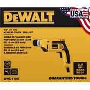 Dewalt Drill Kit, Keyless Chuck, 8.0 AMP, 3/8 Inches
