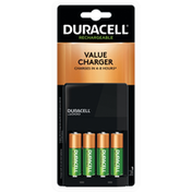 Duracell Batteries, Value Charger, Rechargeable, AA, 4 Pack