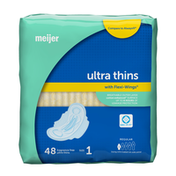 Meijer Ultra Thin Maxi Pads With Flexi Wings, Regular Absorbency, Size 1