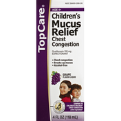 TopCare Mucus Relief, Chest Congestion, Grape Flavor Liquid