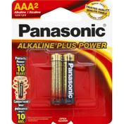 Panasonic Battery, Alkaline, AAA, 2 Pack