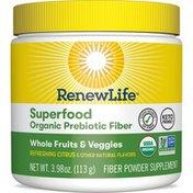Renew Life Whole Fruits & Veggies Superfood Organic Prebiotic Fiber Powder Supplement Refreshing Citrus