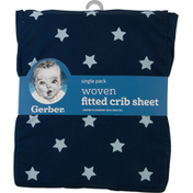 Gerber Fitted Crib Sheet, Woven, Single Pack