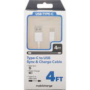 Mobilcharge Cable, Sync & Charge, Type-C to USB, 4 Feet