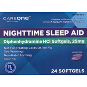 CareOne Sleep Aid, Nighttime, Non-Habit Forming, Softgels, Box