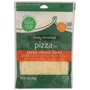 Food Club Pizza Style Three Cheese Blend Low-Moisture Mozzarella, Low-Moisture Part-Skim Mozzarella & Provolone Finely Shredded Cheeses