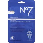 No7 Sheet Mask, Serum Boost, Triple Action, Lift & Luminate