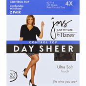 Jms Pantyhose, Day Sheer, Control Top, Reinforced Toe, 4X, Off Black