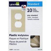 Leviton Plastic Wallplates, Ivory, Standard, 10 Pack