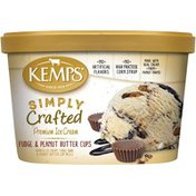 Kemps Simply Crafted Fudge & Peanut Butter Cups Premium Ice Cream