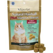 NaturVet Natural Hairball Plus Vitamins & Minerals Soft Chews For Cats