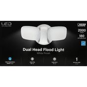Feit Electric Flood Light, LED, Dual Head, White Finish, 28 Watts