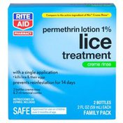 Rite Aid Pharmacy Lice Treatment, Creme Rinse, Family Pack
