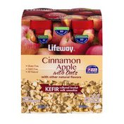 Lifeway Kefir Cultured Lowfat Milk Smoothie Cinnamon Apple with Oats - 4 CT