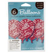 Amscan Balloons, Designer, 12 Inch, Helium Quality Latex, Happy Birthday