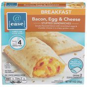 @ Ease Bacon, Egg & Cheese Smoke Flavored Bacon With Scrambled Eggs & Cheddar Cheese In A Crispy Golden Crust Breakfast Stuffed Sandwiches