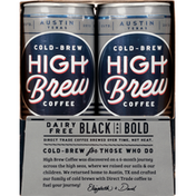 High Brew Coffee, Dairy Free, Black and Bold, Cold-Brew, 4 Pack,