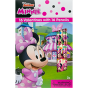 Disney Junior Minnie Valentines, with Pencils, 3+