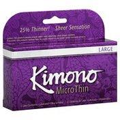 Kimono Latex Condoms, Large, Lubricated, Ultra-Sensitive