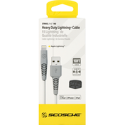 Scosche Lightning Cable, Heavy Duty, 10 Feet