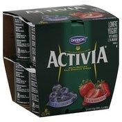 Activia Yogurt, Lowfat, Blueberry, Strawberry