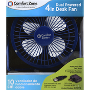 Comfort Zone Desk Fan, Dual Powered, 4 in